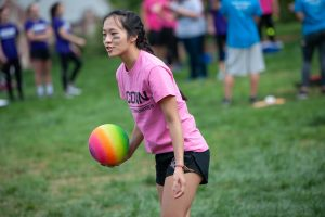A member of Fine Arts House participates in a dodgeball competition. (Defining Studios Photography for UConn)