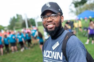 Nick Furlow '21 (BUS), resident assistant for the Business Connections Learning Community and recruitment chair on the Learning Communities Executive Council, helped plan and run Field Day. (Defining Studios Photography for UConn)