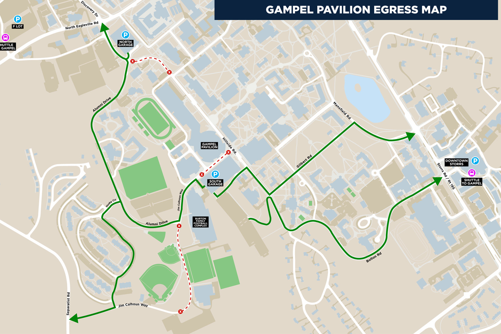 The changes have been made to improve the traffic flow and mitigate the effects related to construction on Jim Calhoun Way. (Athletic Communications Map)