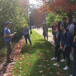 Extension educators Mike Dietz, Chet Arnold, and Juliana Barrett took Climate Corps students on a tour of green infrastructure and low impact development around campus on Sept. 27. Low impact development measures, such as permeable surfaces and rain gardens, are important steps UConn is taking to reduce the campus' environmental footprint, because stormwater runoff can have a negative impact on the quality of water in streams and rivers around campus. (Chet Arnold/UConn Photo)