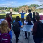 Outside of Storrs Hall, students get to view a green roof up close, and learn about how green roofs play a role in rainwater management. (Chet Arnold/UConn Photo)