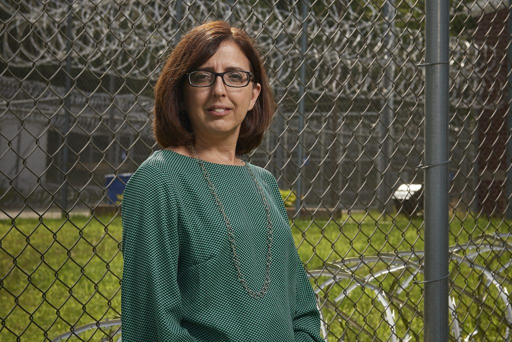 Kimberly Bergendahl, assistant professor in residence of political science at the Brooklyn Correctional Institution, onJuly 31, 2018. (Peter Morenus/UConn Photo)