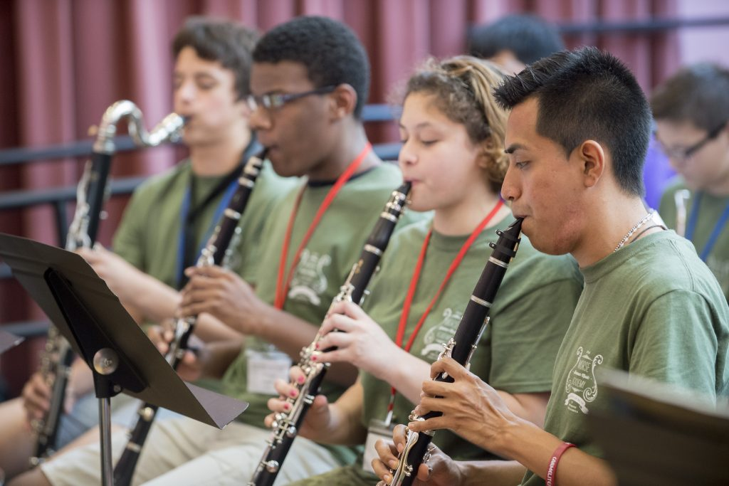 Neag School music education master's degree student Jesús Cortés-Sanchez 18 (ED), '19 MA (far right) plays with the advanced clarinet group of Yale School of Music's Morse Academy. He now serves there as an intern and teaching artist during the summer. (Matthew Fried/UConn Photo)