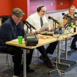 The cast of UConn360 Podcast, from left, Tom Breen, Ken Best, and Julie Bartucca, began the session by reading Homecoming headlines from bygone years. (Lucas Voghell '20 (CLAS)/UConn Photo)