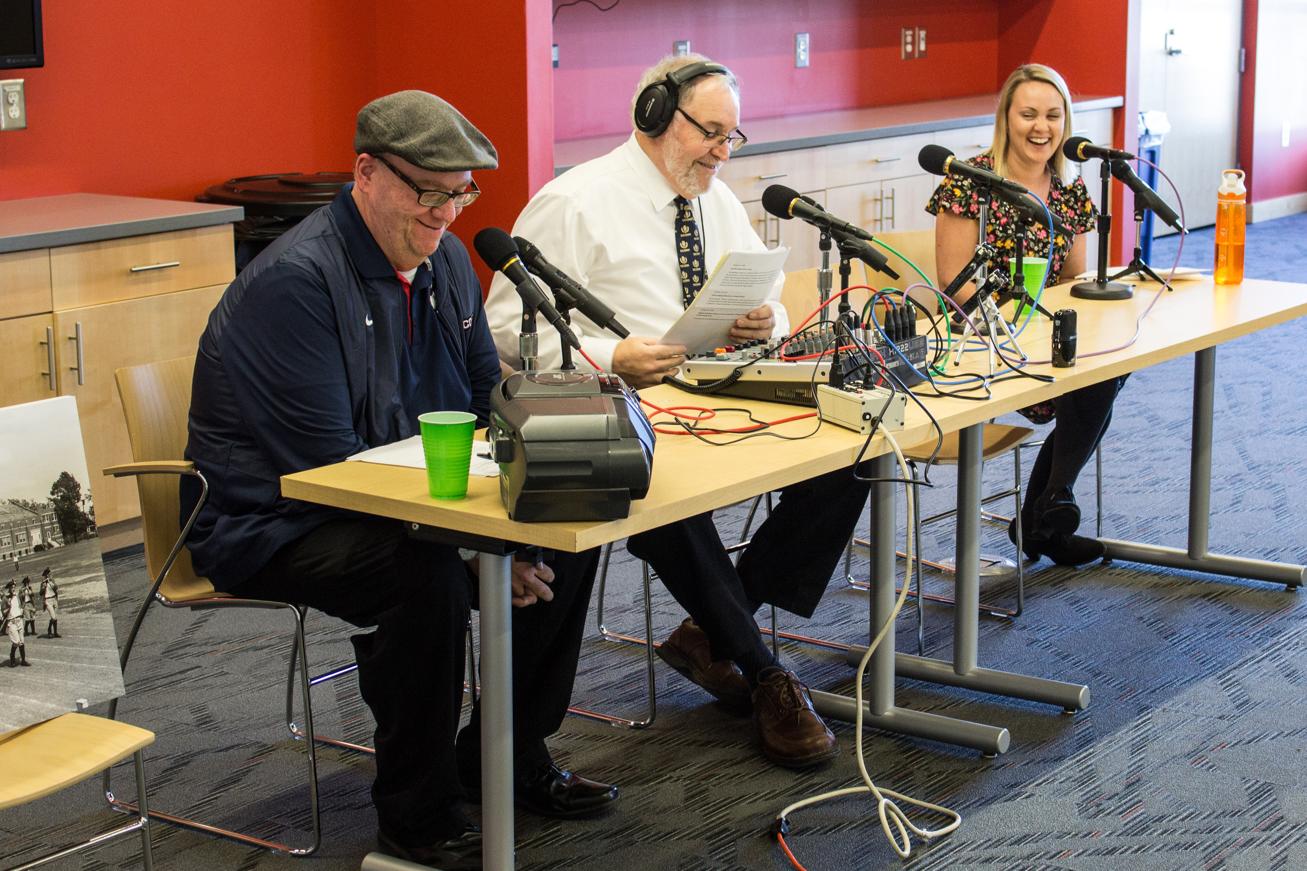UConn360's first live podcast was recorded in Werth Tower at the start of Homecoming weekend, with an audience of alumni, staff, and students. (Lucas Voghell '20 (CLAS)/UConn Photo)
