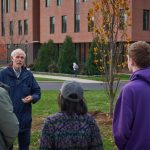Greg Anderson, Distinguished Professor Emeritus of Ecology and Evolutionary Biology, speaks during the ceremonial planting of the Class of 2019 tree near the William H. Hall Building on Oct. 23, 2018. (Peter Morenus/UConn Photo)