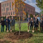 The ceremonial planting of the Class of 2019 tree near the William H. Hall Building on Oct. 23, 2018. (Peter Morenus/UConn Photo)