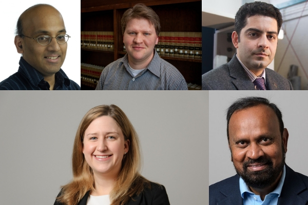 Top row (from left to right): Dr. John Chandy, Electrical and Computer Engineering; Dr. Tim Vadas, Civil and Environmental Engineering; Dr. Arash Zaghi, Civil and Environmental Engineering. Bottom row (from left to right): Dr. Kelly Burke, Chemical and Biomolecular Engineering, Dr. Sanguthevar Rajasekaran, Computer Science and Engineering.