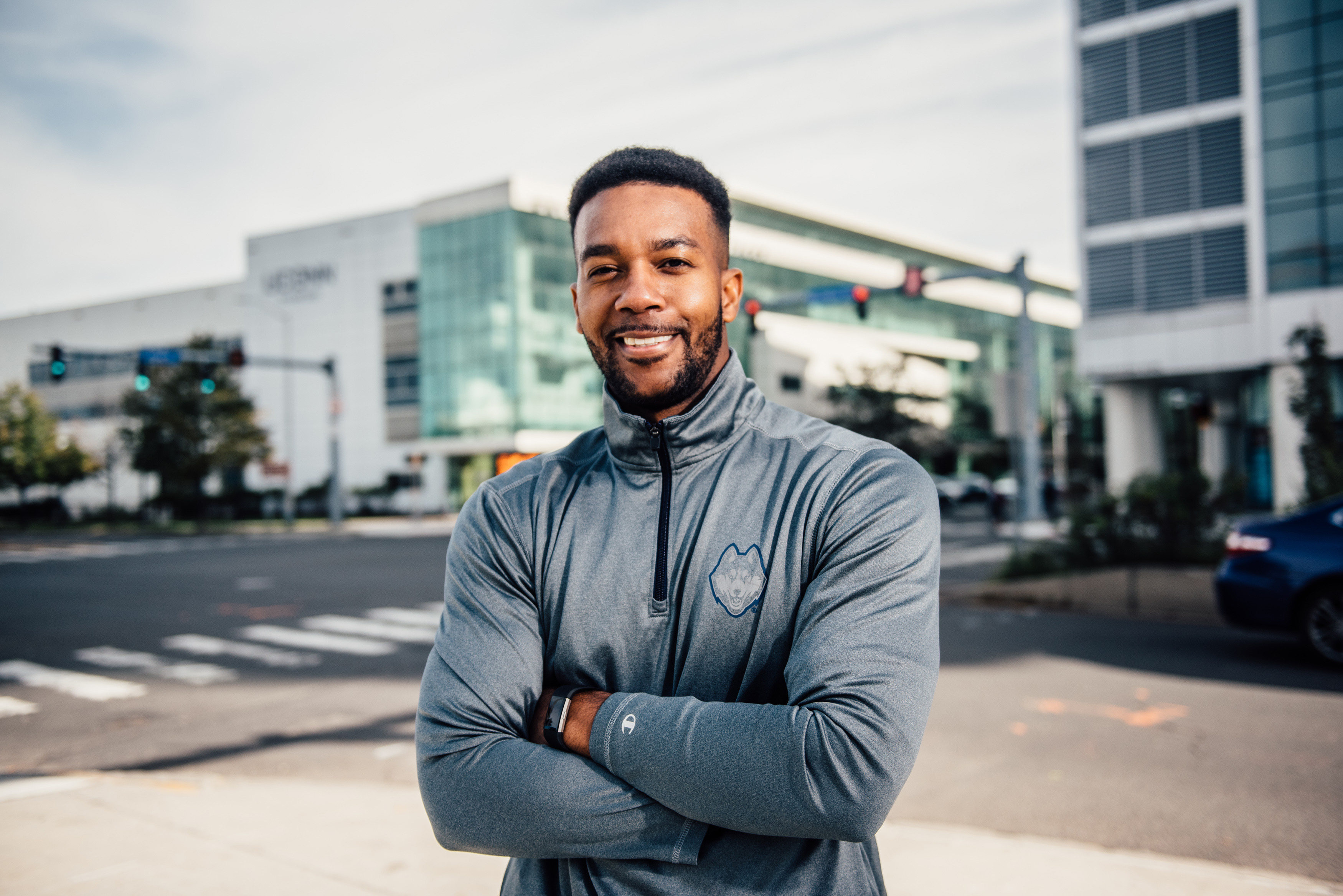 MBA student Junau Boucard '11 (BUS) at the Stamford Campus. (Nathan Oldham/UConn Photo)