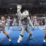 The Husky Mascot joins in the fun. (Stephen Slade '89 (SFA) for UConn)