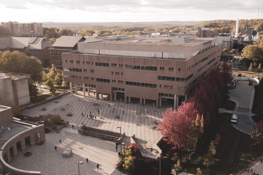 A drone view of Homer Babbidge Library and the Thomas J. Dodd Research Center. (Eric Yang '12 (CLAS)/UConn Photo)