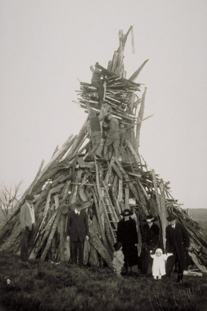 By nightfall on Armistice Day, a vast bonfire was built, leading to the burning in effigy of Kaiser Wilhelm, the defeated German leader. (University Library Archives & Special Collections)