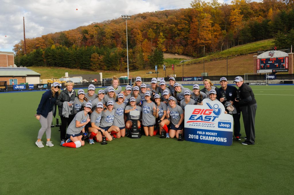 Liberty hosts UConn in the Big East Field Hockey Championship game on November 4, 2018. (Photo by Joel Coleman)