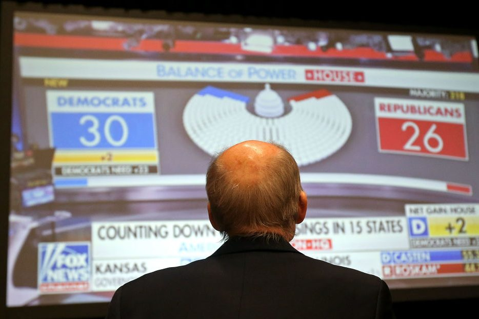 A Republican supporter watches midterm election returns on a big screen monitor during an election night event on Nov 6, in Arizona. (Photo by Ralph Freso/Getty Images)
