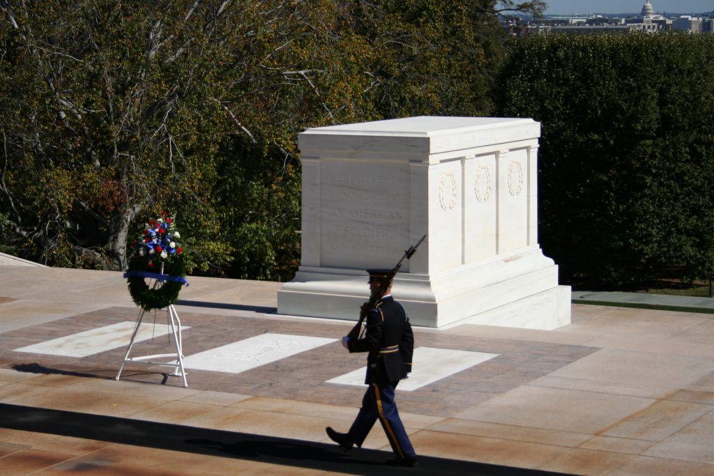 The Tomb of the Unknown Soldier at Arlington National Cemetery, with honor guard marching. (Getty Images)