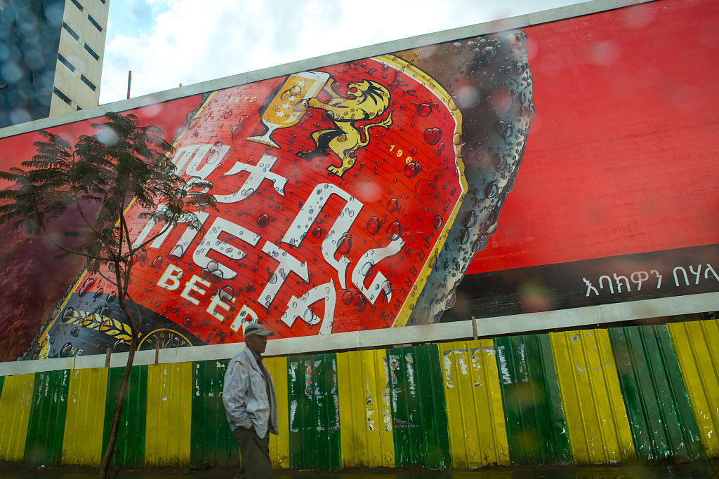 Giant billboard for meta beer in Ethiopia.. (Photo by Eric Lafforgue/Art in All of Us/Corbis via Getty Images)