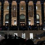 The holiday spirit was in the air as the Hartford community gathered on the front steps of the UConn Hartford Campus main building, the former Hartford Times building, for @TheiQuiltPlan's Back to the Times Carol Sing. (Jakob Lopez 20 CLAS)/UConn Photo)