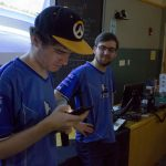 Ryan Marsh '20 (ENG) quizzes political science major Michael 'Mikey' Palacios-Baughman '20 (CLAS) about his knowledge of Overwatch. (Lucas Voghell '20 (CLAS)/UConn Photo)