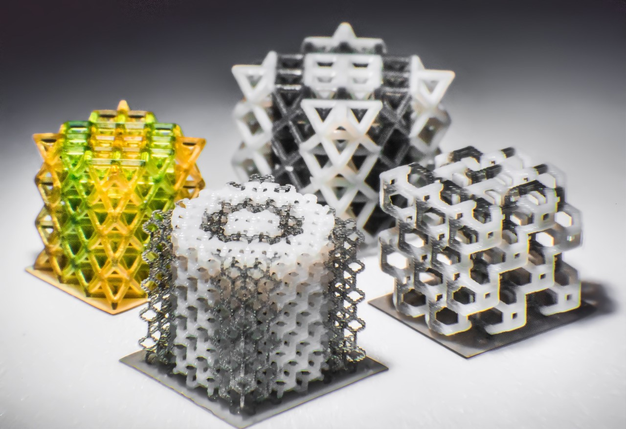 Multi-material micro-lattice polymeric structures fabricated using 3D printing. (Kavin Kowsari/UConn Photo)