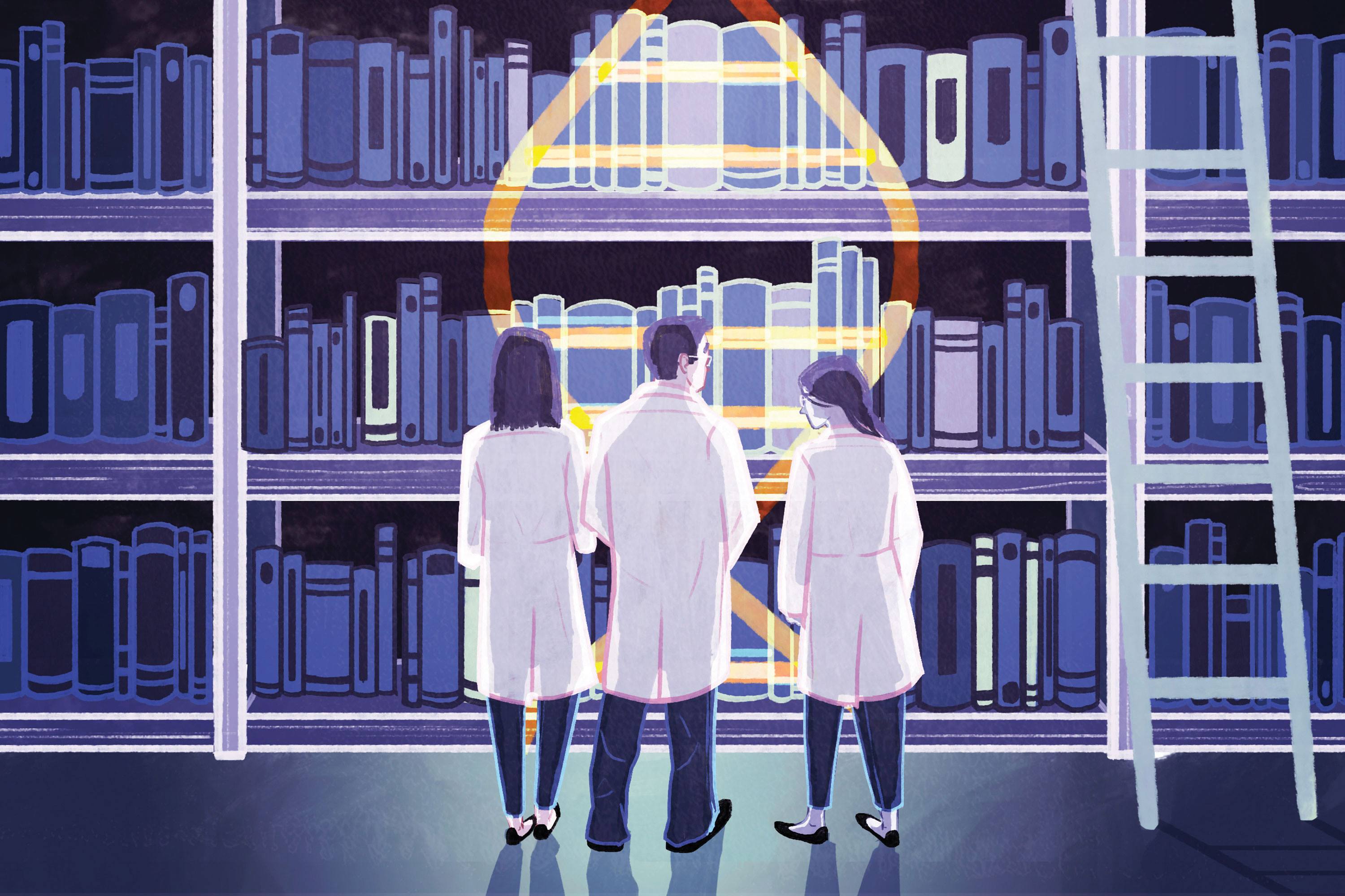 A special team of medical literature experts are on the hunt for cancer's kryptonite, one mutation at a time. (Kailey Whitman Illustration for UConn)