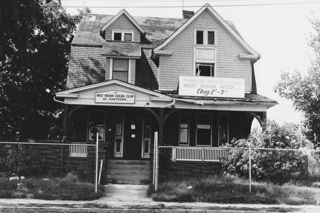 Barbour Street Club House, a converted two-family home that was the site of the first West Indian Social Club, founded in 1950. (Courtesy of West Indian Social Club of Hartford)