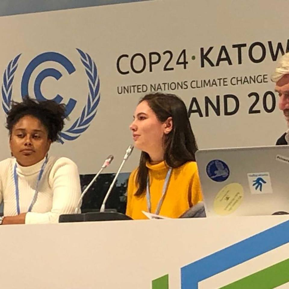Emily Kaufman, a sophomore double majoring in Environmental Studies and Sociology with a minor in Geographic Information Systems, speaks on a panel at COP24 in Katowice, Poland. (Office of Environmental Policy/UConn Photo)