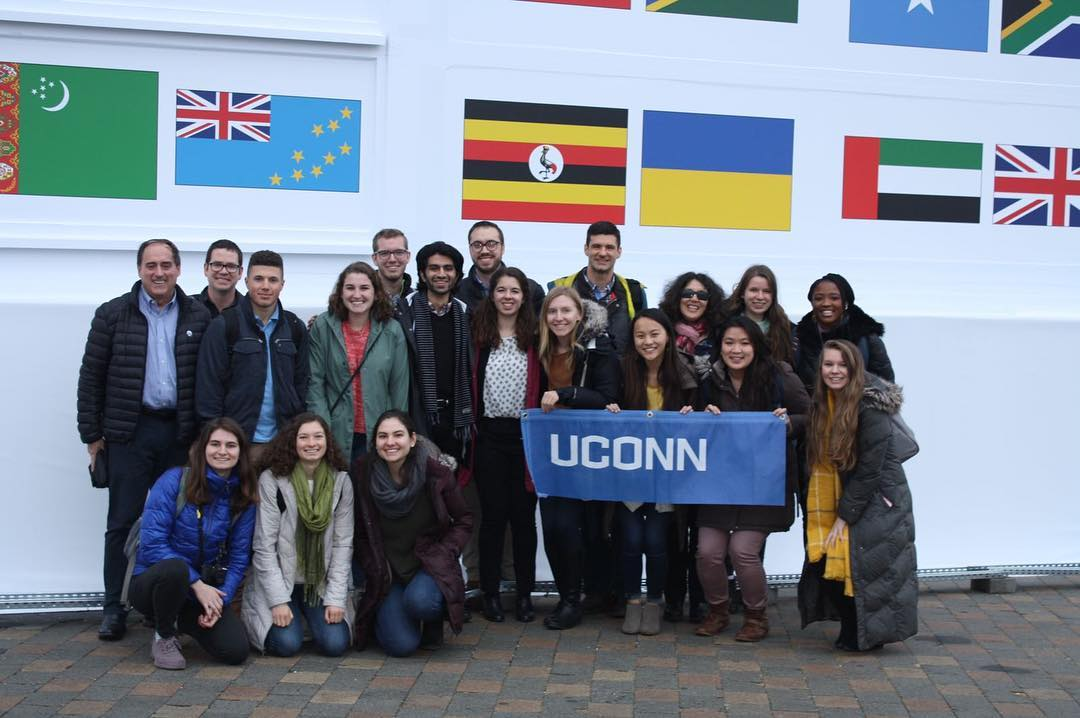 A group of students and faculty attended COP24, the UN climate change summit, earlier this month in Katowice, Poland, where world leaders discussed details of the Paris Climate Accord, and ways to mitigate emissions. (Office of Environmental Policy/UConn Photo)