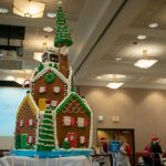 A professionally crafted gingerbread house provided by Dining Services was the centerpiece of the event. (Lucas Voghell '20 (CLAS)/UConn Photo)