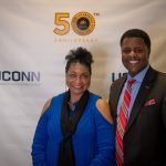 AACC director Willena Kimpson Price poses for a photo with Vern Granger, director of undergraduate admissions. (Lucas Voghell '20 (CLAS)/UConn Photo)