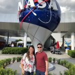 Nicole Wagner '07 (CLAS), '13 Ph.D. and Jordan Greco '10 (CLAS), '15 Ph.D. of UConn startup LambdaVision are at the Kennedy Space Center in Florida this week preparing for the launch of their research project into space. (Courtesy of LambdaVision)
