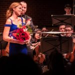 Teryn Kuzma '19 (SFA), recipient of the Aria Award in this year's Concerto Competition, received a standing ovation for her performance with the UConn Symphony Orchestra on Dec. 6. (Lucas Voghell '20 (CLAS)/UConn Photo)