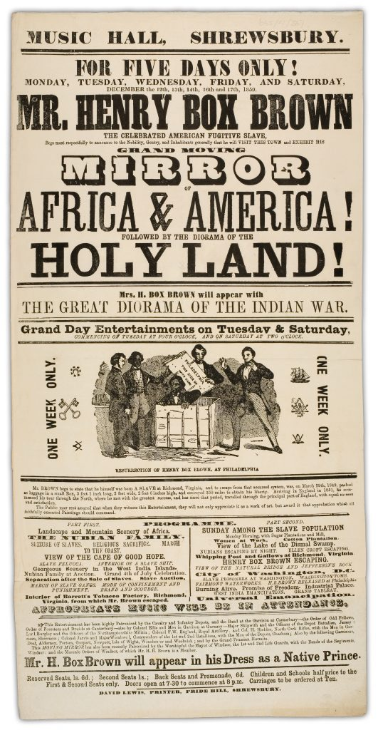 A poster from an 1859 performance in Shrewsbury, England, in which Henry Box Brown refers to himself as a 'Native Prince.' (Image courtesy of Martha Cutter)
