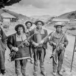 Indigenous members of a civil defense force man a checkpoint in the western highlands of Guatemala, 1983. (Scott Wallace)