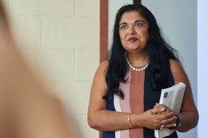 Manisha Sinha, Draper Chair of American History, lectures at the Gentry Building. (Peter Morenus/UConn Photo)