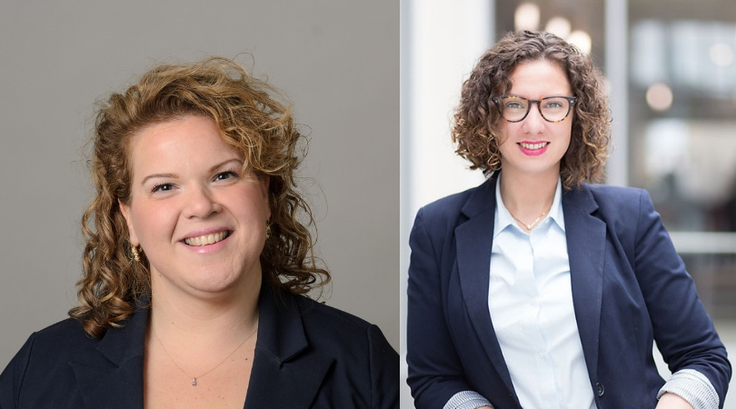 Elizabeth Fongemie, Business Development and Marketing Associate for the School's Professional Education program (left), and Caitlin Krouse, Director of Alumni Relations (right). (Photo Composite by Eli Freund)