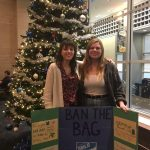 Kelly Rafferty, left, and Isabel Umland, both of UConn PIRG, celebrate Dining Services' decision to ban plastic bags in its retail and Grab & Go facilities. (Photo courtesy of UConn PIRG)