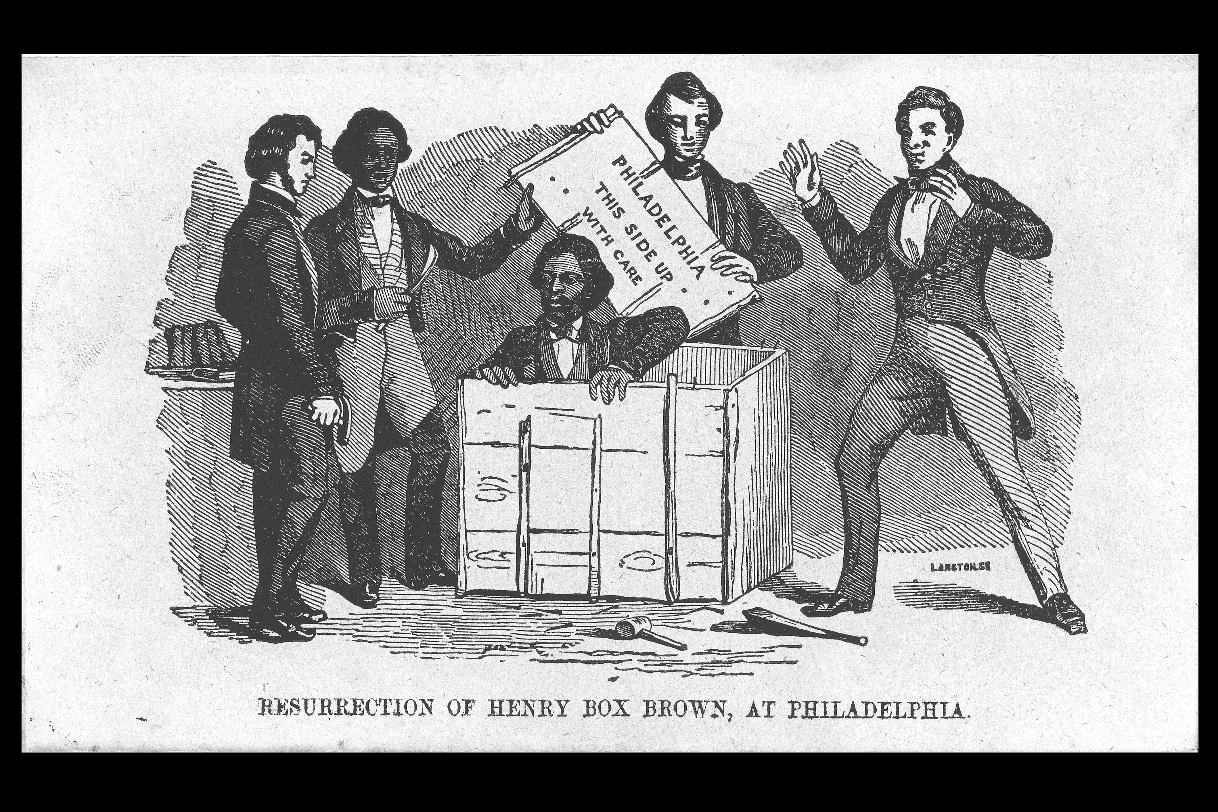 An illustration, published opposite the title page in 'Narrative of the Life of Henry Box Brown,' depicts Brown emerging from the box he rode in for 27 hours between Richmond, Virginia, and Philadelphia in 1849. (Image courtesy of Martha Cutter)