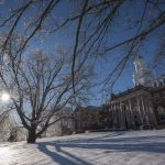 The iconic Wilbur Cross Building in a frozen landscape. (Sean Flynn/UConn Photo)