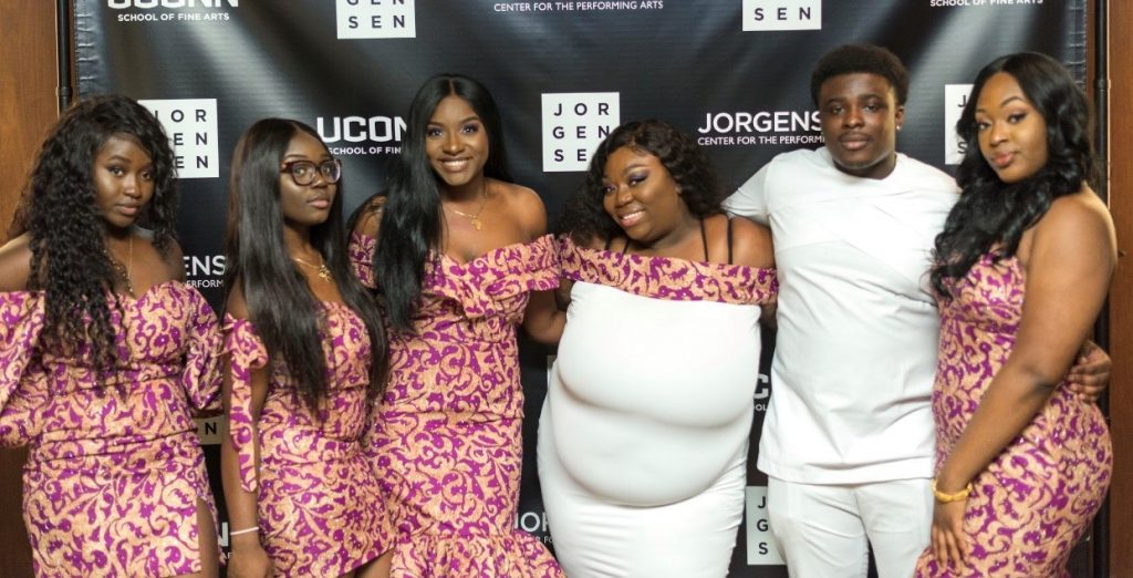The Cultural and Fashion Show was organized by the African Students Association board: from left, Deborah Oppong '21 (NUR), secretary and treasurer, Alexis Wilson '21 (CLAS), public relations chair, Princess Madu '19 (CLAS), president, Ewurabena Anaiagyei-Cobbold '19 (CLAS), social media coordinator, Joshua Ominu '20 (CLAS), event coordinator, and Amina Seidi '20 (ENG), vice president.
