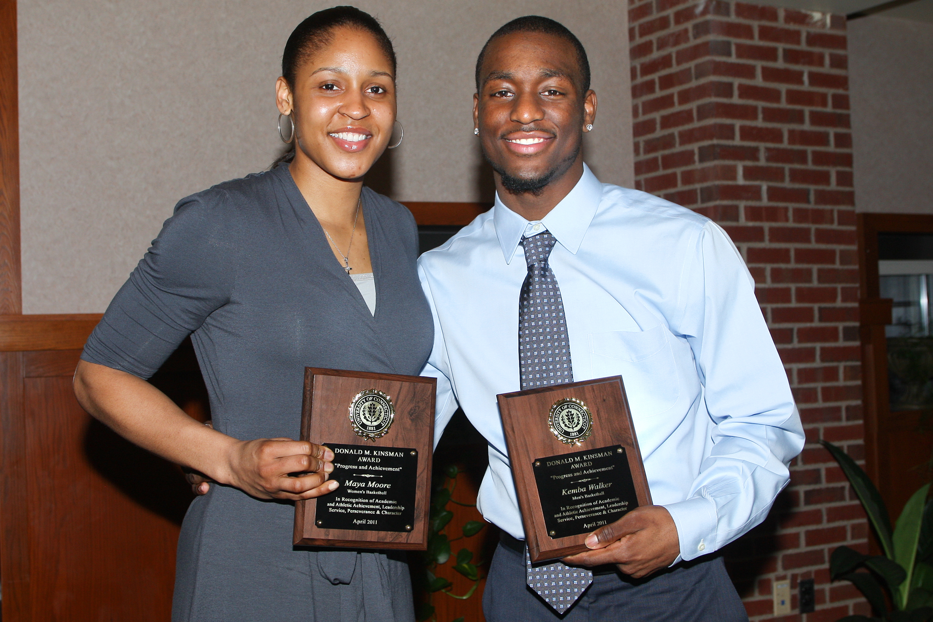 Maya Moore and Kemba Walker each received the Kinsman Award in spring 2011. (Athletic Communications File Photo)