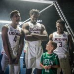 Rylan participates in a photo shoot with, from left, Jalen Adams, Mamadou Diarra, and Alterique Gilbert. (Jason Reider/Athletic Marketing Photo)