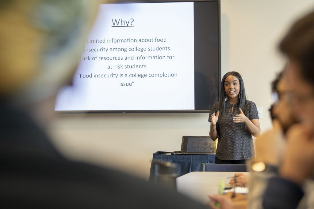 Wanjiku Gatheru '20 (CAHNR) addresses a roundtable on food insecurity at the Student Union on Feb. 11. (Sean Flynn/UConn Photo)