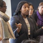 Alleyha Dannett '19 (CLAS) talks about the experience of food insecurity at a roundtable on Feb. 11. (Sean Flynn/UConn Photo)