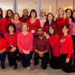 Staff from the Pat and Jim Calhoun Cardiology Center at UConn Health wore red on Feb. 1, 2019 for national Wear Red Day, to raise awareness about cardiovascular disease and save lives.  February is American Heart Month. (Tina Encarnacion/UConn Health Photo)