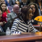 Ama Appiah, president of the Undergraduate Student Government, testifies to the Appropriations Committee of the Connecticut General Assembly on March 7. (Ariel Dowski for UConn)