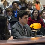 Graduate student and entrepreneur Armin Rad Tahmasbi testifies before the Appropriations Committee of the Connecticut General Assembly on March 7. (Ariel Dowski for UConn)