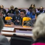 Honors student Garrett D'Amato testifies to the Appropriations Committee of the Connecticut General Assembly on March 7. (Ariel Dowski for UConn)