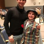 George Kutrubis and Maddox, after a performance of Guys & Dolls at Glastonbury High School. When pain in his legs prevented Maddox from playing sports, he found an alternative niche in the Drama Club, earning a part in the school's spring production. (Photo by Sherry Bruening)