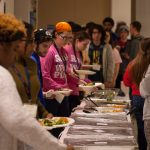 All participants were fed at multiple points throughout the night and into the day. This is the first dinner that was served. (Lucas Voghell '20 (CLAS)/UConn Photo)