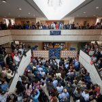 A view of the Academic Atrium during the medical student residency match day ceremony at UConn Health in Farmington on March 15, 2019. (Peter Morenus/UConn Photo)